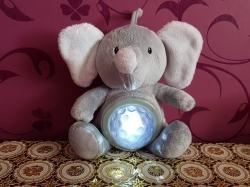 """Светодиодная детская мягкая игрушка, ночник """" Слоник"""" с прожектором, мягкая плюшевая игрушка слоник Ideen welt WF80071, серый, 27 см."""