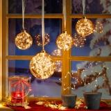 Рождественский светодиодный стеклянный шар CB-2 с LED гирляндой внутри + таймер, новогодние украшение ideen welt.