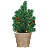 """Настольная ель искусственная с гирляндой, светодиодное дерево """" Рождественская елка """"  Ideenwelt LED, зеленая."""
