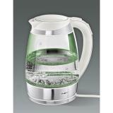 Электрический чайник стеклянный, белый с подсветкой и регулятором температуры IdeenWelt F-683D.